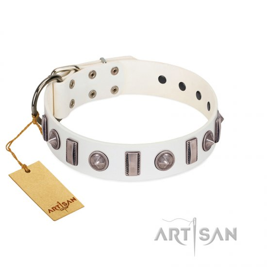 """Icy Spike"" Designer FDT Artisan White Leather English Bulldog Collar with Silver-Like Decorations"