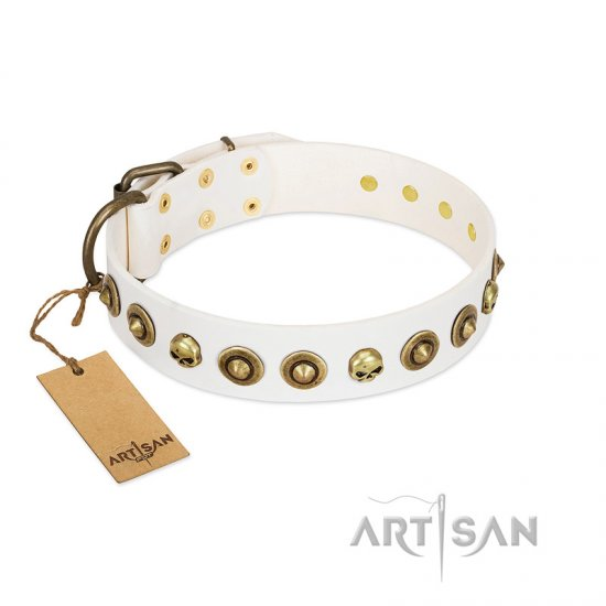 """Wondrous Venture"" FDT Artisan White Leather English Bulldog Collar with Skulls and Brooches"