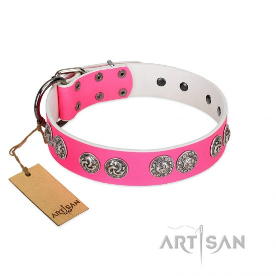 """Periapt of Power"" FDT Artisan Pink Leather English Bulldog Collar with Chrome Plated Medallions"