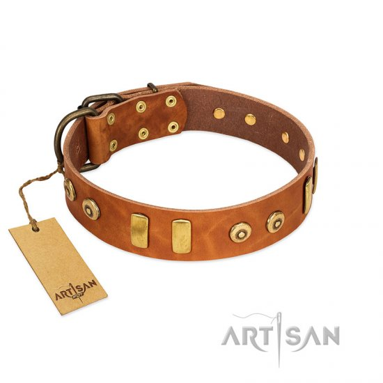 """Egyptian Script"" FDT Artisan Tan Leather English Bulldog Collar with Plates and Small Studs"