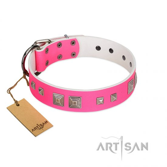 """Rosy Evolution"" Designer Handmade FDT Artisan Pink Leather English Bulldog Collar"