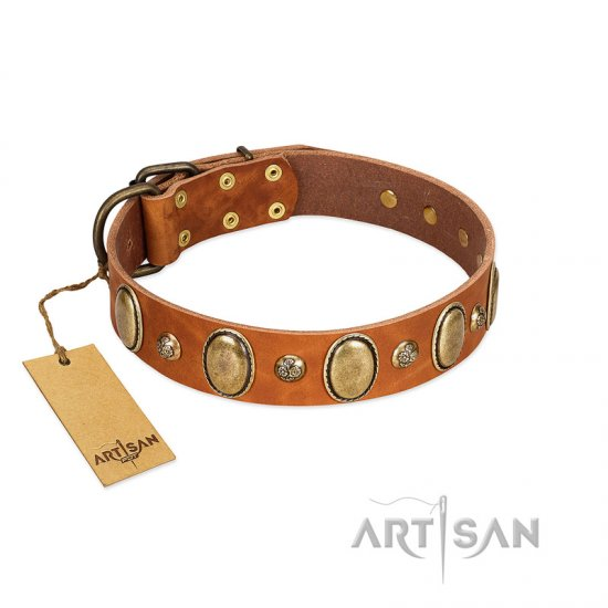 """Venus Breath"" FDT Artisan Tan Leather English Bulldog Collar with Vintage Looking Oval and Round Studs"