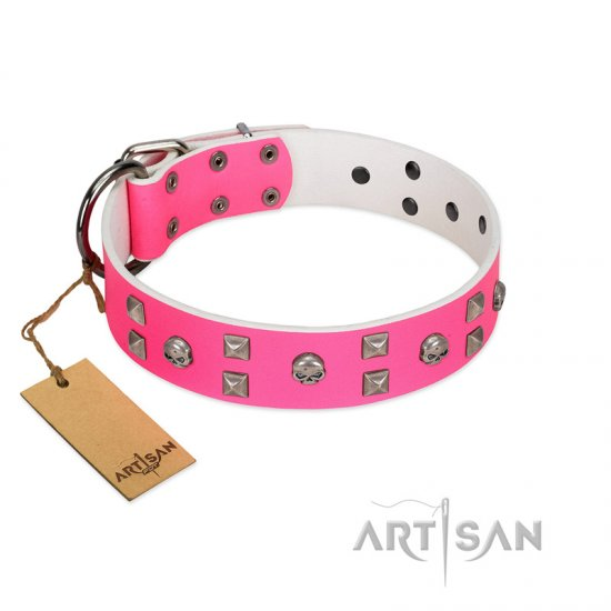 """Crystal Skull"" Premium Quality FDT Artisan Pink Designer English Bulldog Collar with Skulls and Studs"