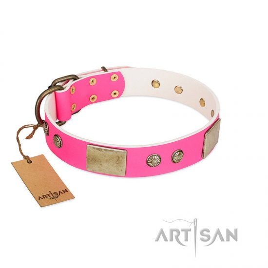 """Flower Parade"" FDT Artisan Pink Leather English Bulldog Collar with Plates and Studs"