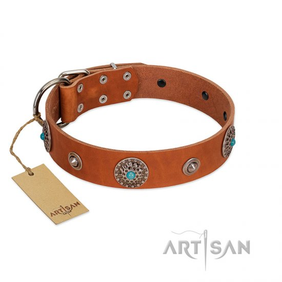 """Marine Antiques"" Handmade FDT Artisan Tan Leather English Bulldog Collar with Blue Stones"
