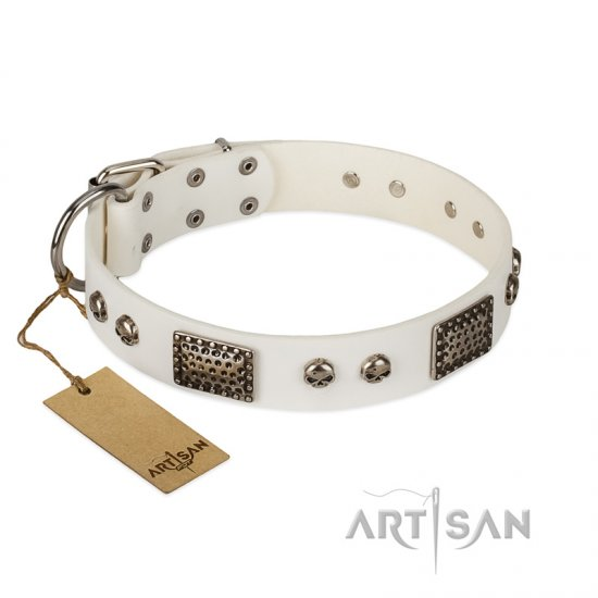 """Terrific Beauty"" FDT Artisan Beguiling White Leather English Bulldog Collar"