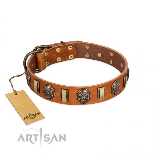 """Strike of Rock"" FDT Artisan Tan Leather English Bulldog Collar with Plates and Medallions with Skulls"