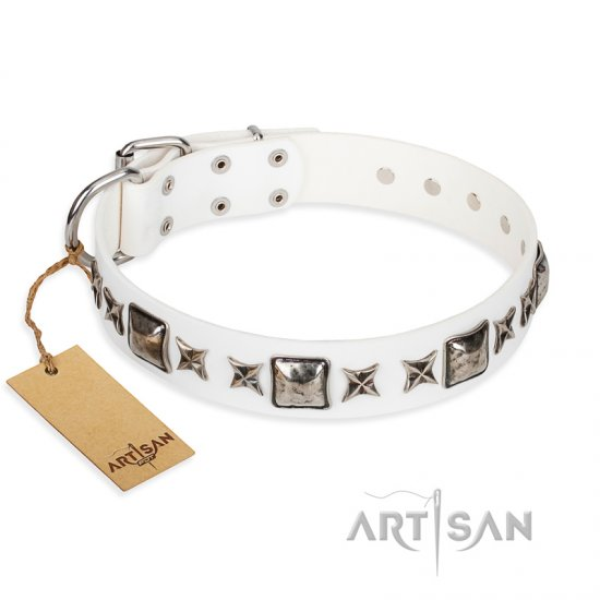 """Intergalactic Travelling"" FDT Artisan Handcrafted White Leather English Bulldog Collar"