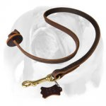 Leather Obedience English Bulldog Leash With Circle Handle