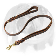 English Bulldog Braided Leather Dog Leash with 2 Handles
