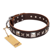 """Perfect Impression"" FDT Artisan Brown Leather English Bulldog Collar with Silver-Like Studs - 1 1/2 inch (40 mm) Wide"