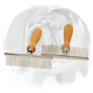 """Personal Stylist"" English Bulldog Metal Brush Equipped with Wooden Handle"