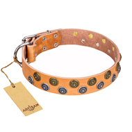 """Precious Sparkle"" Exquisite FDT Artisan Tan Leather Collar for English Bulldog"