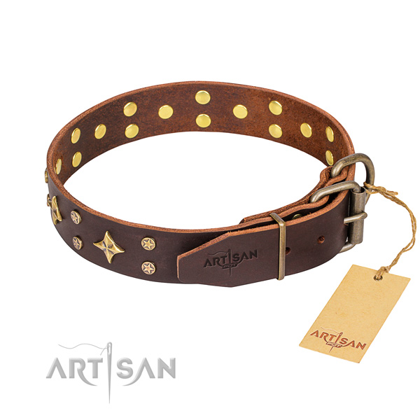 Handy use full grain genuine leather collar with decorations for your four-legged friend