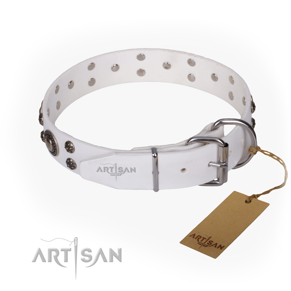 Everyday walking natural genuine leather collar with decorations for your four-legged friend