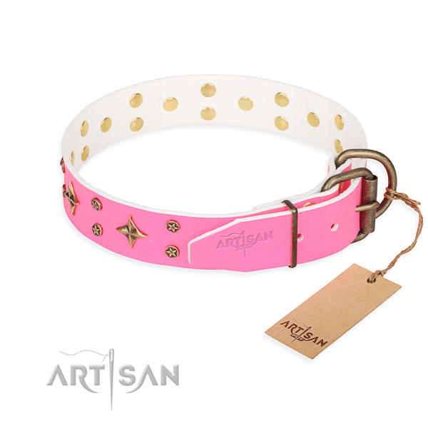 Stylish walking natural genuine leather collar with embellishments for your pet