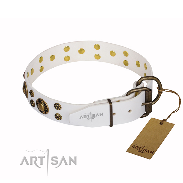 Inimitable full grain genuine leather dog collar for everyday use