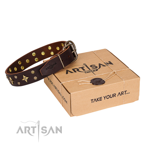 Adorned genuine leather dog collar for comfy wearing