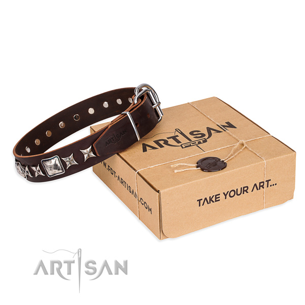 Embellished leather dog collar for easy wearing