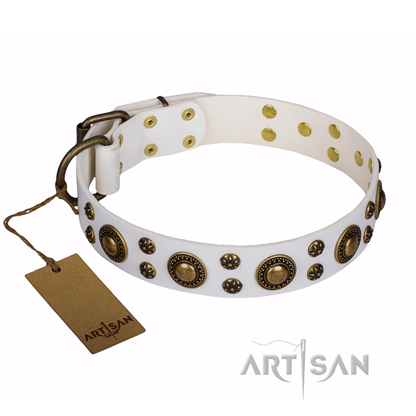 Handy use full grain leather collar with decorations for your doggie