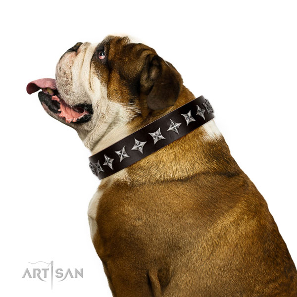 Comfortable wearing decorated dog collar of strong natural leather