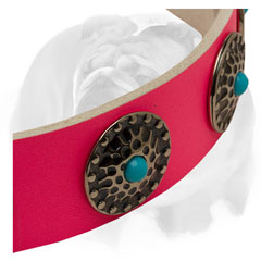 Pink pure leather English Bulldog collar with blue stones