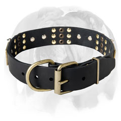 English bulldog leather Dog Collar