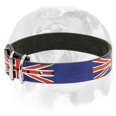 Genuine leather English Bulldog collar with painting