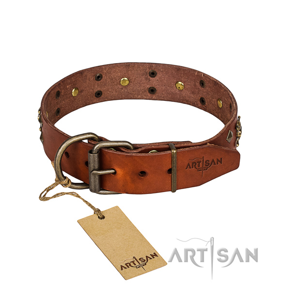 Long-wearing leather dog collar with rust-resistant details