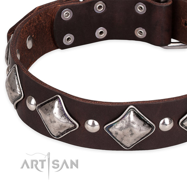 Adjustable leather dog collar with resistant non-rusting buckle and D-ring