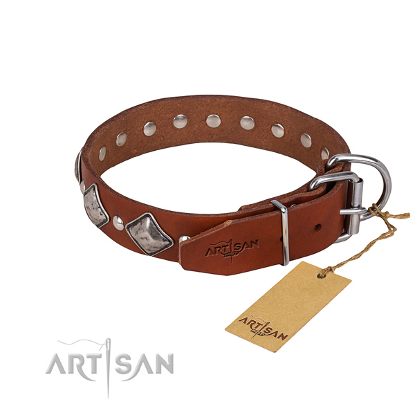 Full grain genuine leather dog collar with thoroughly polished finish