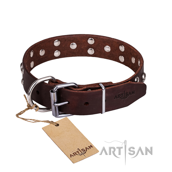 Leather dog collar with rounded edges for convenient daily walking