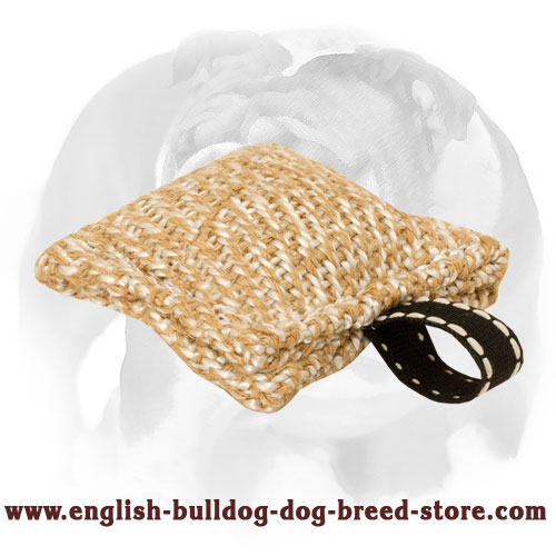 Jute puppy tug with small loop-handle for bite training English Bulldog
