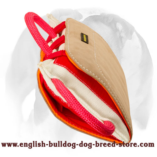 English Bulldog bite pillow covered with leather for bite training