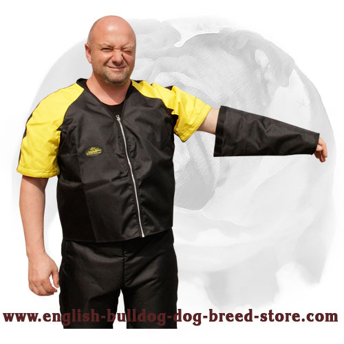 English Bulldog strong nylon scratch suit with removable sleeve and adjustable belts
