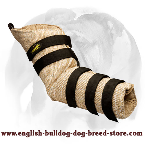Convenient jute hidden protection bite sleeve for English Bulldog