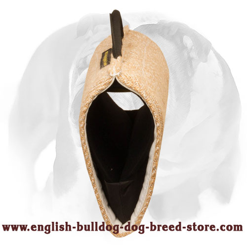 Durable bite builder sleeve for training young and adult English Bulldog
