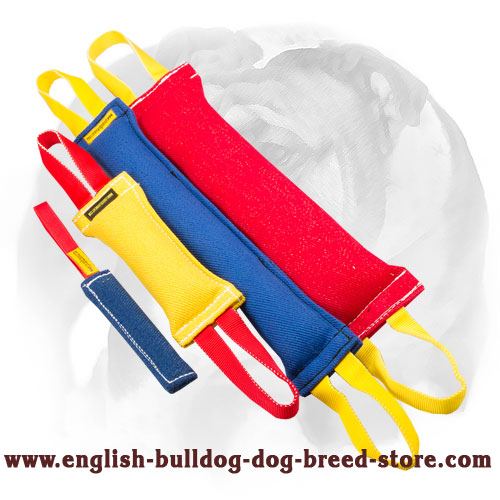 French linen set of bite tugs with handles for training English Bulldog