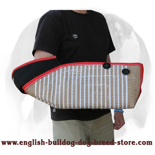 English Bulldog strong Jute bite protection sleeve with soft interior