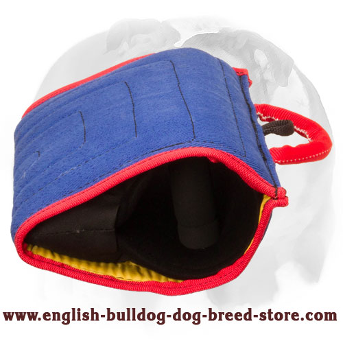 English Bulldog comfy bite builder sleeve with handles for training young and adult dogs