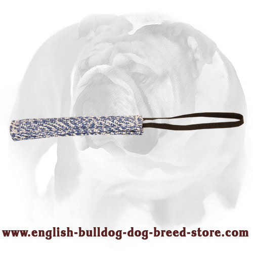 English Bulldog bite tug made of French linen for training puppies