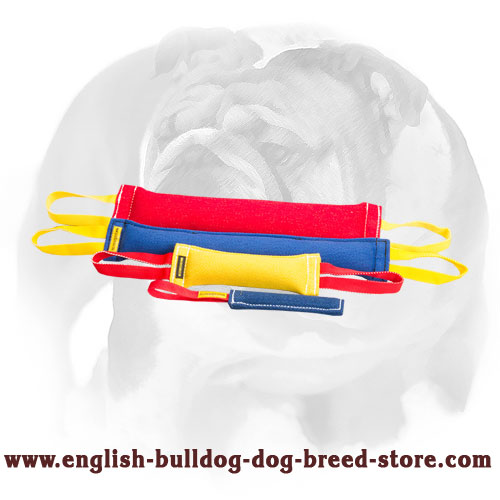 French linen set of tugs for English Bulldog bite training