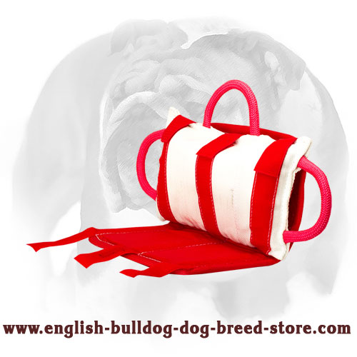 Jute covered bite pillow with 3 strong handles for training English Bulldog