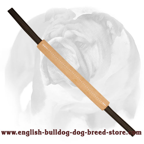 English Bulldog leather bite tug with nylon handles for training and playing