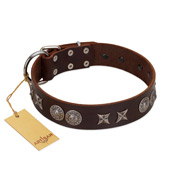 """Antique Style"" Designer Handmade FDT Artisan Brown Leather English Bulldog Collar"