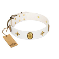 """Hollywood Star"" FDT Artisan White Leather English Bulldog Collar with Ovals and Stars - 1 1/2 inch Wide"