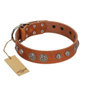 """Era Infinitum"" FDT Artisan Tan Leather English Bulldog Collar Adorned with Chrome-plated Circles"