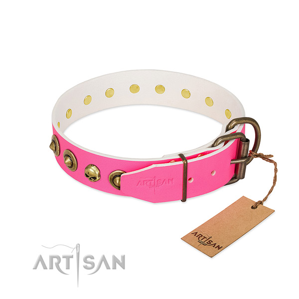 Full grain natural leather collar with exquisite studs for your canine