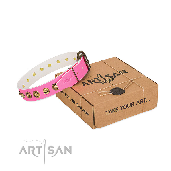 Leather collar with trendy decorations for your canine
