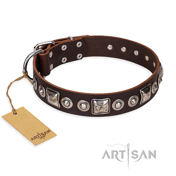 Full grain leather dog collar made of soft to touch material with corrosion resistant D-ring